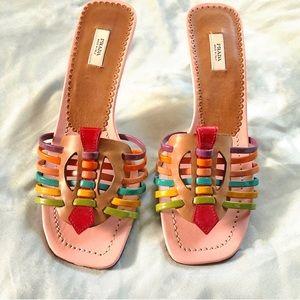 Prada Multicolor Leather Strappy Sandal Heels Sz5